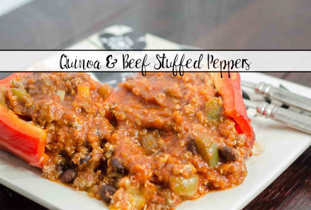Easy Quinoa and Beef Stuffed Peppers. Healthy, filling, and taste FABULOUS! Peppers overflowing with quinoa, beef, black beans, mushrooms, & more.