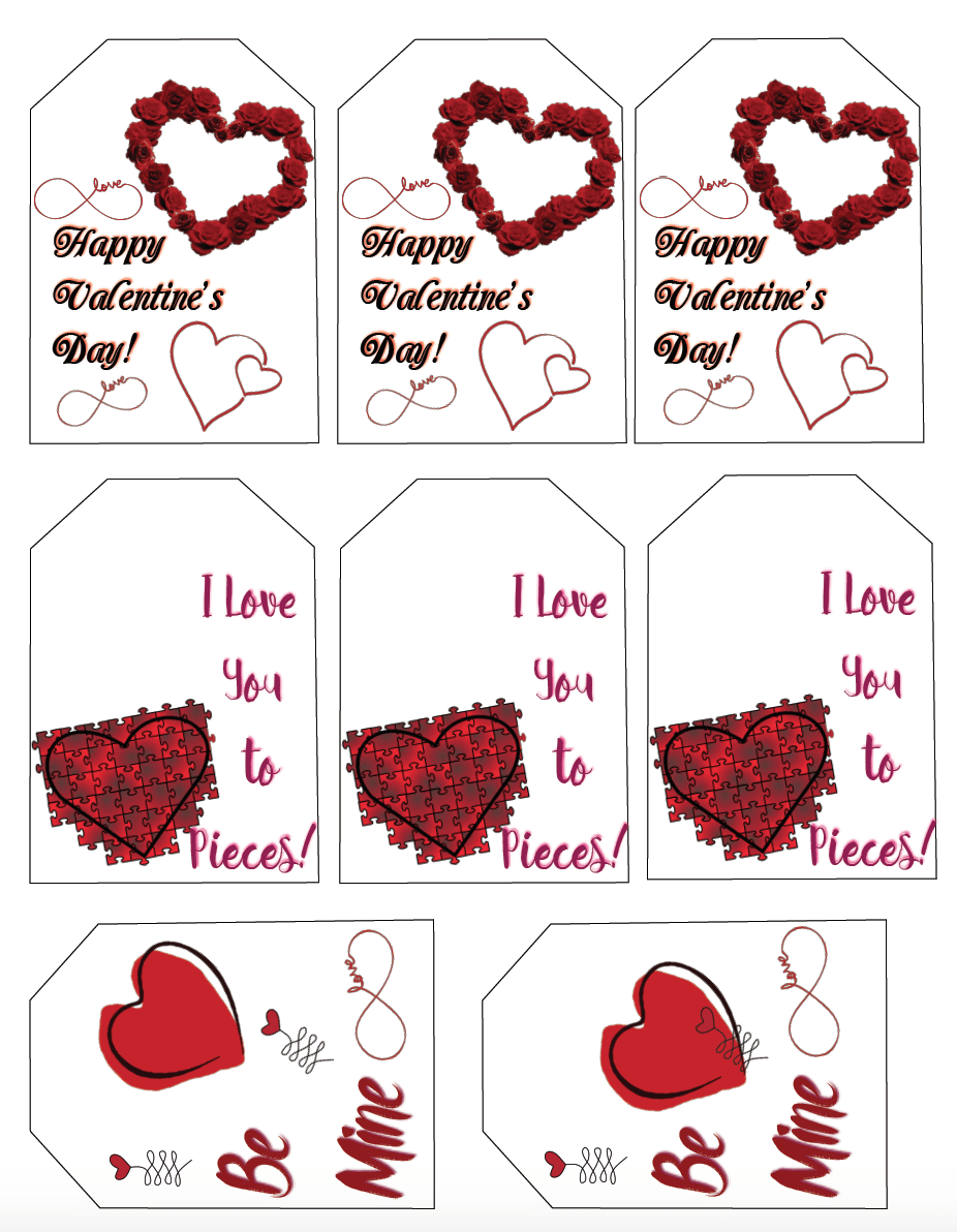 Free printable Valentine's Day Gift Tags: 6 designs, different sizes. Plus blank labels for whatever you need!