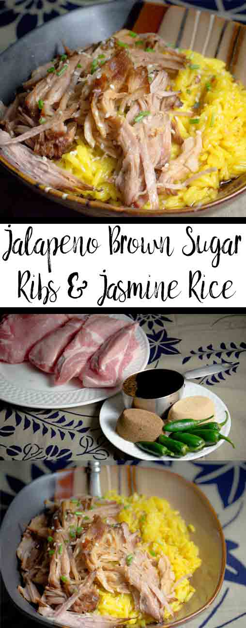 Easy Slow-Cooker Jalapeño Brown Sugar Ribs & Jasmine Rice: delicious, tender ribs with sweet and spicy sauce, contrasted perfectly with jasmine rice.