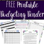 Pin image for free printable budgeting binder. Cover and preview of various pages spread out.