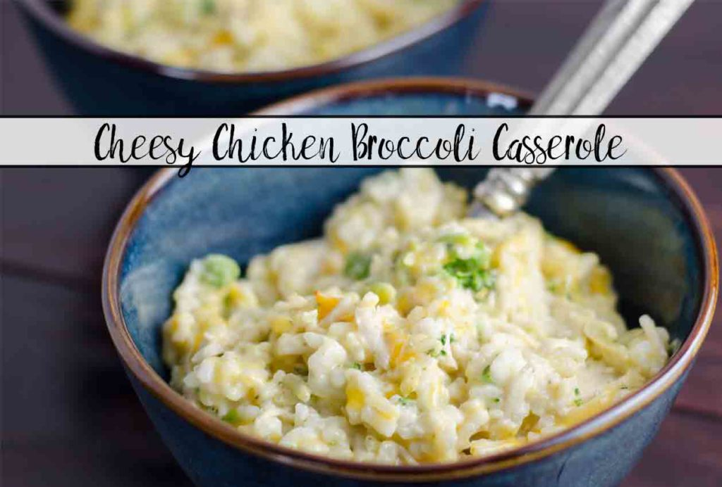 Cheesy Chicken Broccoli Casserole with Rice. Easy and delicious. Great freezer meal: just double and freeze half for later.
