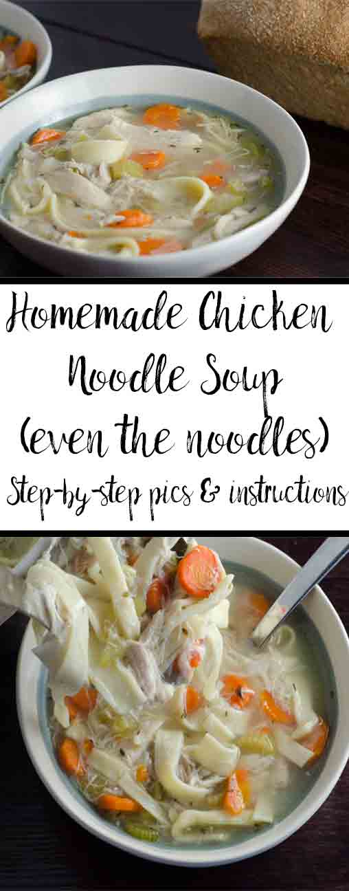 Homemade chicken noodle soup (even the noodles!). Delicious, classic comfort food, Easy step-by-step pictures & instructions.