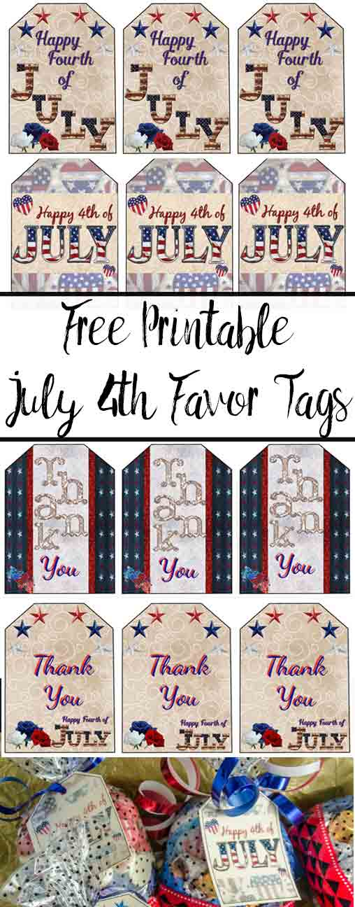 FREE printable 4th of July Favor Tags. 6 different designs plus links to more free printables!