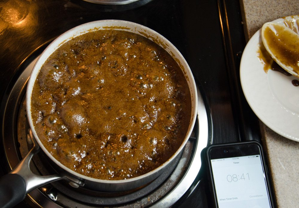 Lower heat and simmer, stirring every 1-2 minutes. Do NOT stir constantly, even though it feels like you should.