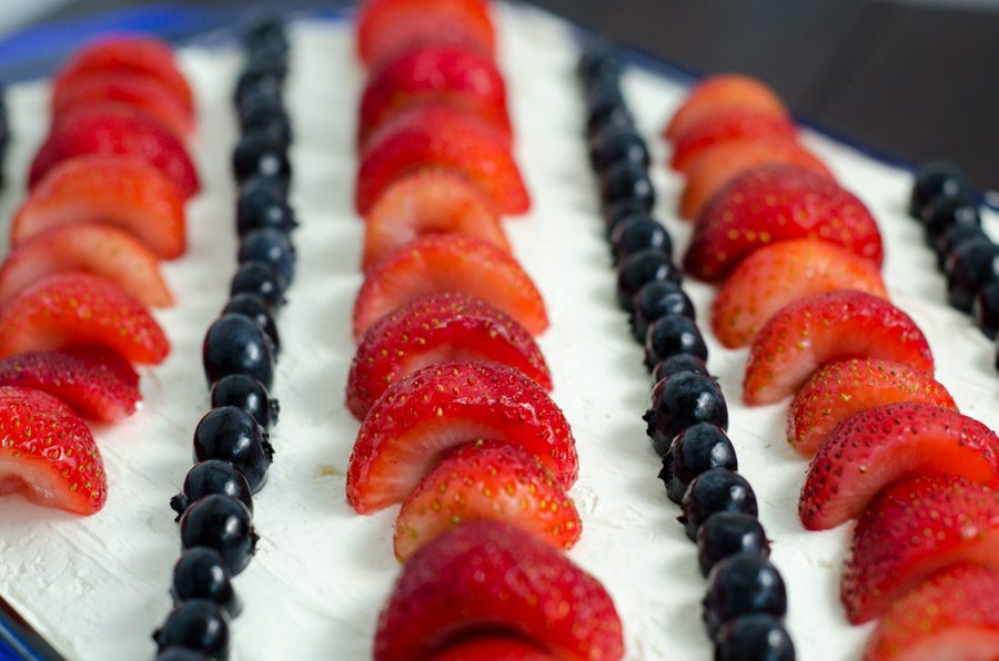 Patriotic No-Bake Cheesecake. Amazingly easy, fabulously delicious, and perfect for any July 4th get-together. Aka- Wave Your Flag Cheesecake