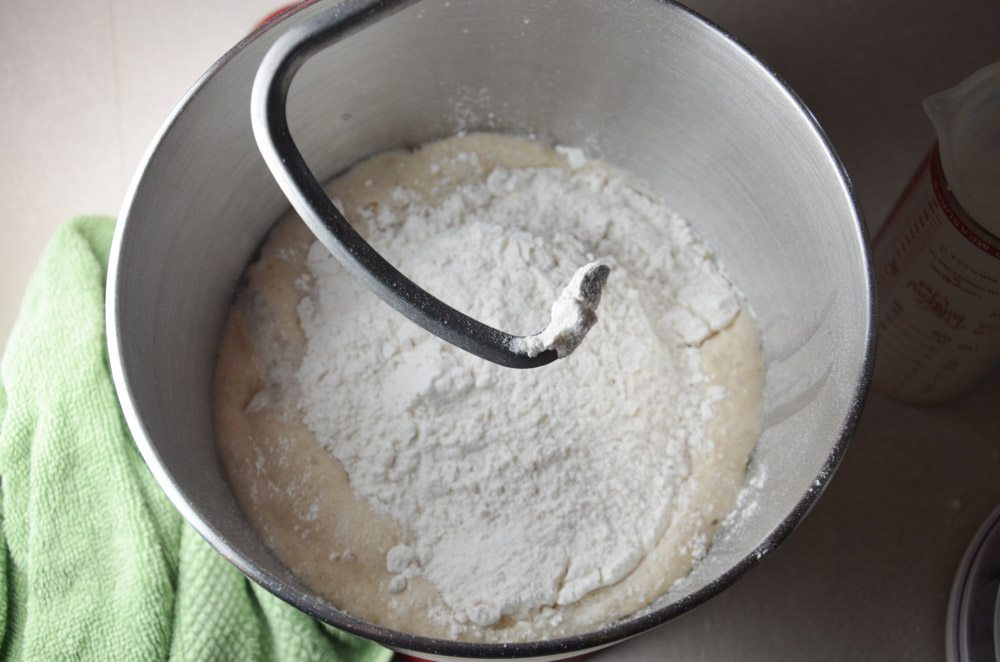 Add remaining flour 1/2 cup at a time, kneading between each addition.