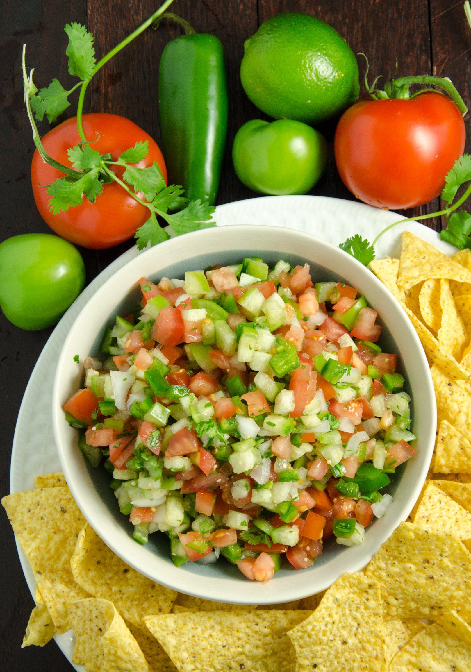 Homemade Pico de Gallo Recipe (aka Salsa Fresca). Fabulous, versatile combination of garden-fresh vegetables. Eat with chips, on salad, tacos, & more.