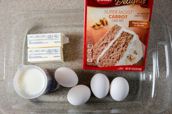 Carrot cake: boxed mix, but use milk instead of water, melted butter instead of oil, and an extra egg. Bake according to package directions.