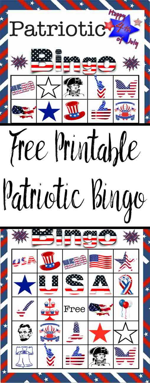 Free printable 4th of July Patriotic Bingo Game. 14 different cards included. Great for the 4th of July or just for fun!