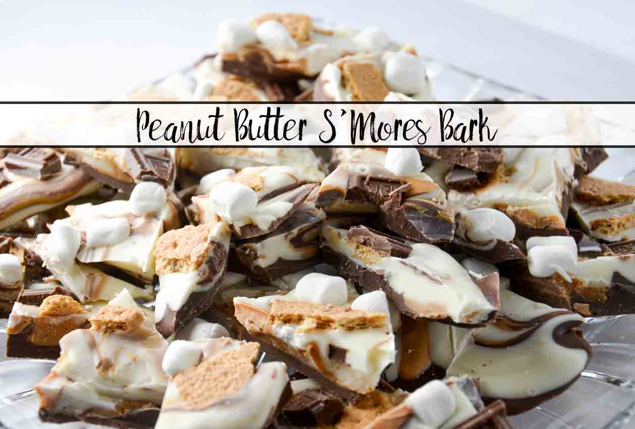 Peanut Butter S'mores bark. Yummy, amazing, and EASY. All of the taste of classic s'mores (plus a bit of peanut butter), but no need for a campfire. Easy to make…impossible to stop eating.