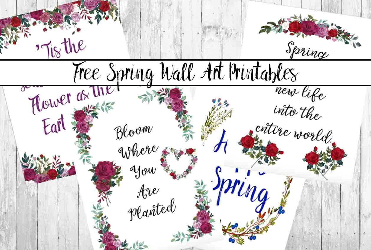 Free printable spring wall art decor: 4 different designs. Great for decorating, plus a dash of motivation.