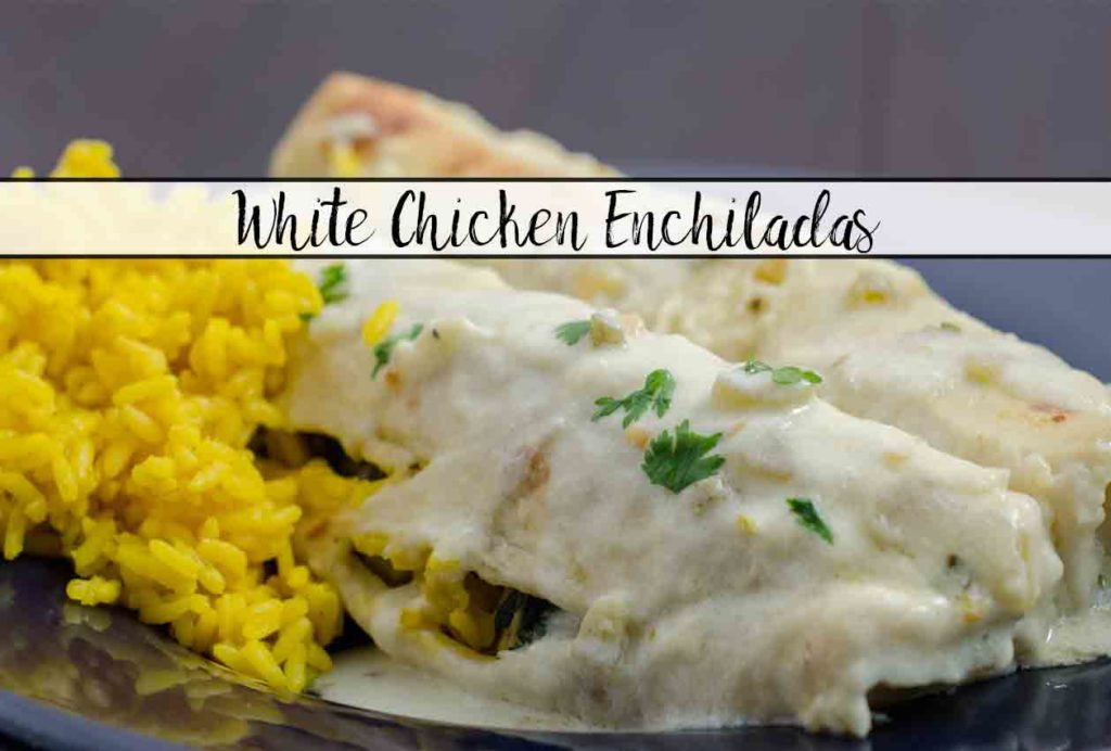 White Chicken Enchiladas Recipe. Enchiladas stuffed with chicken, beans, corn, and spinach covered with a creamy, delicious white sauce.