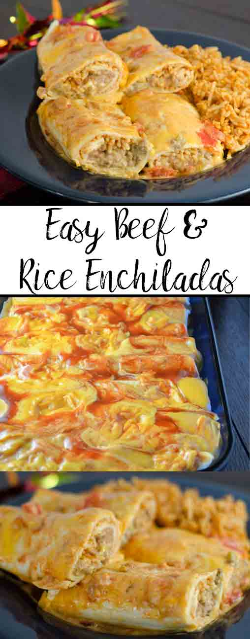 Easy Beef and Rice Enchiladas. Delicious enchiladas stuffed with cheese, beef, Spanish rice, refried beans, green chilis, and spices.