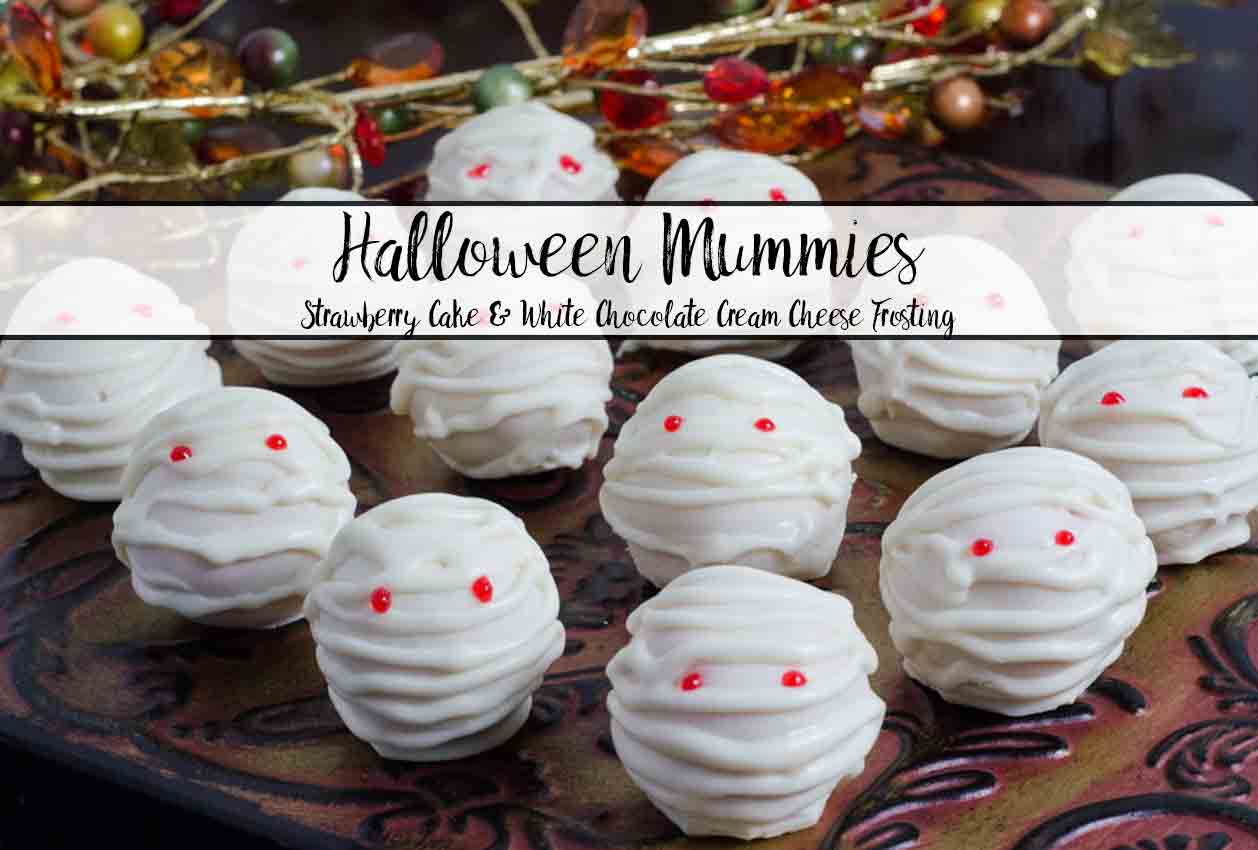 Halloween Mummies: Strawberry Cake Bites with White Chocolate Cream Cheese Frosting