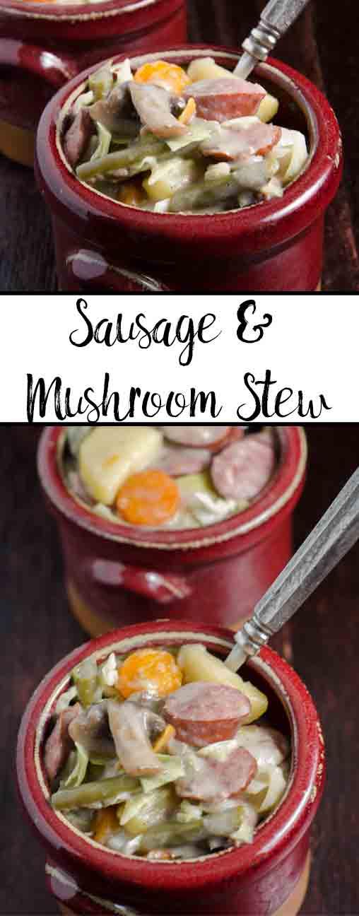 Easy One-Pot Sausage and Mushroom Stew: smoked kielbasa, mushrooms, potatoes, and veggies combine to make a hearty delicious dish.