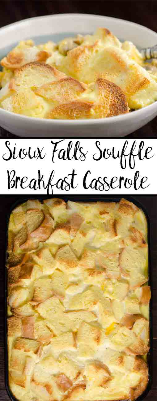 Easy Overnight Breakfast Casserole: Sioux Falls Soufflé. Make ahead of time, bake the next morning! Sausage, cheese, eggs, mushrooms, & more.