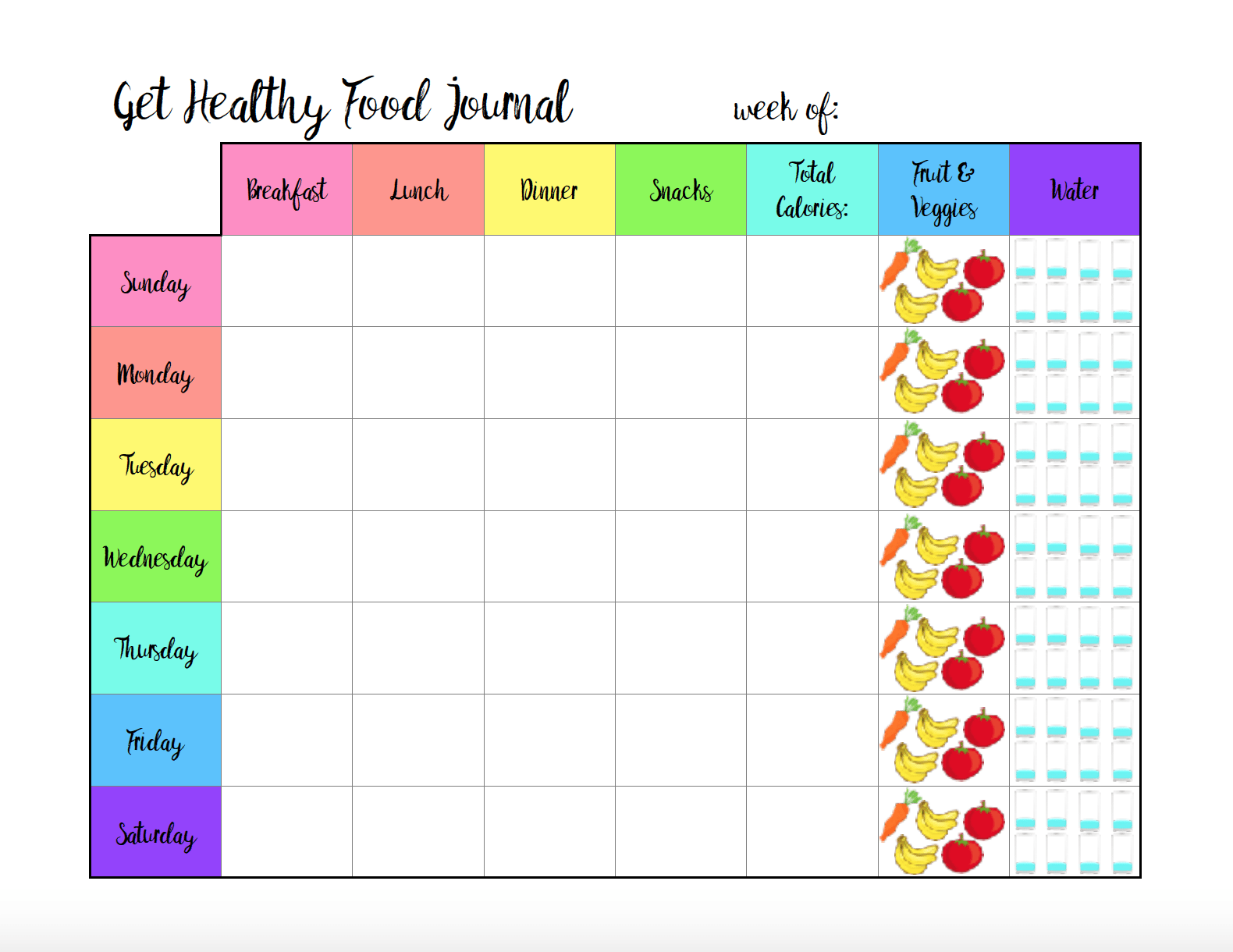 image about Meal Tracker Printable titled Cost-free Printable Meals Magazine: 6 Alternative Models