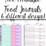 Pin image for free printable food journals.