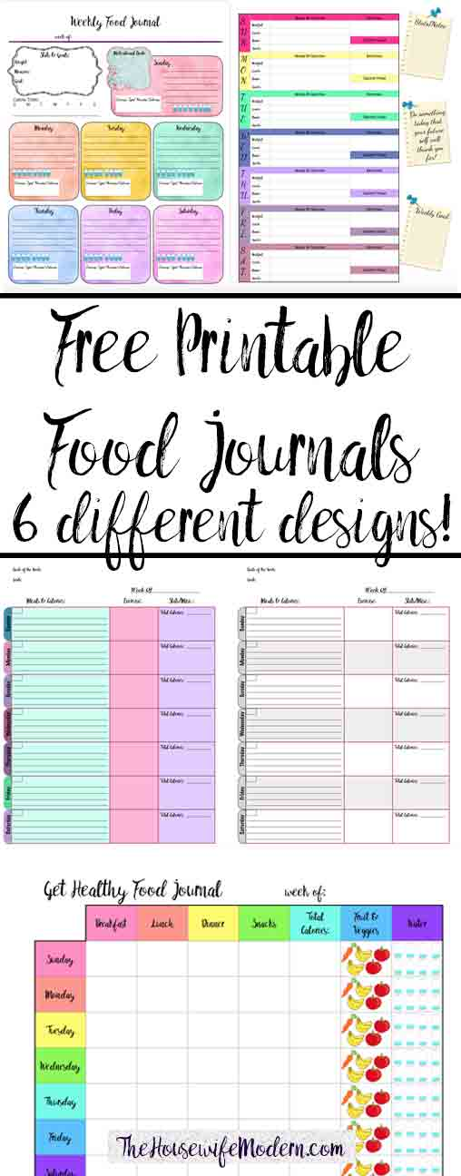 graphic about Printable Food Diaries named Cost-free Printable Food items Magazine: 6 Substitute Styles