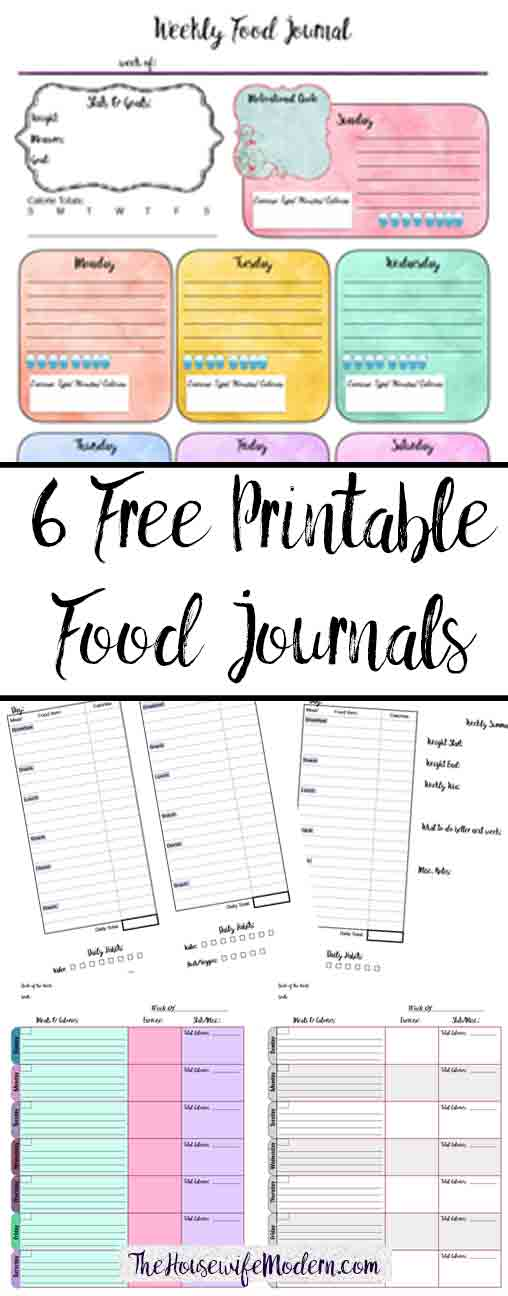 picture regarding Food Tracker Printable called Totally free Printable Foods Magazine: 6 Alternate Types