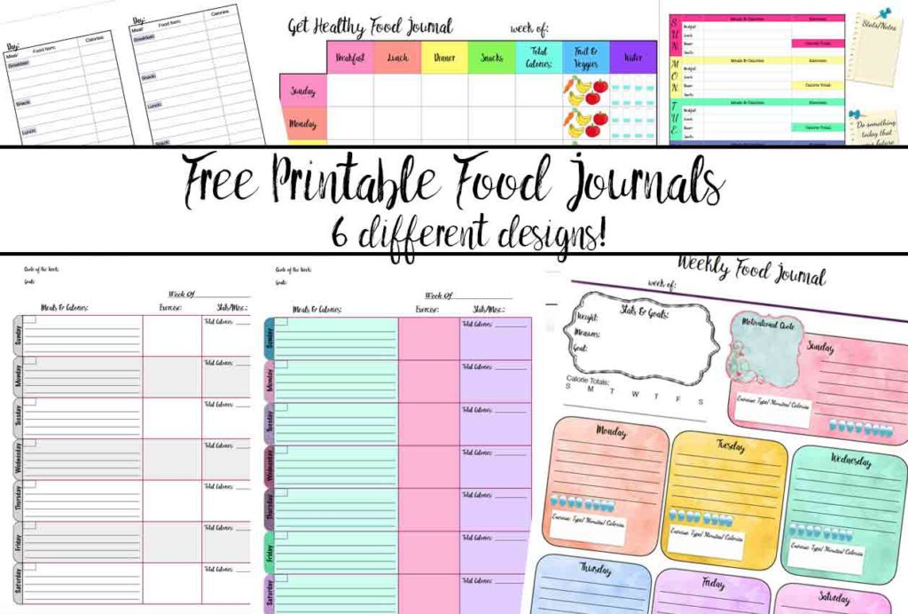 Featured image for free printable food journals.
