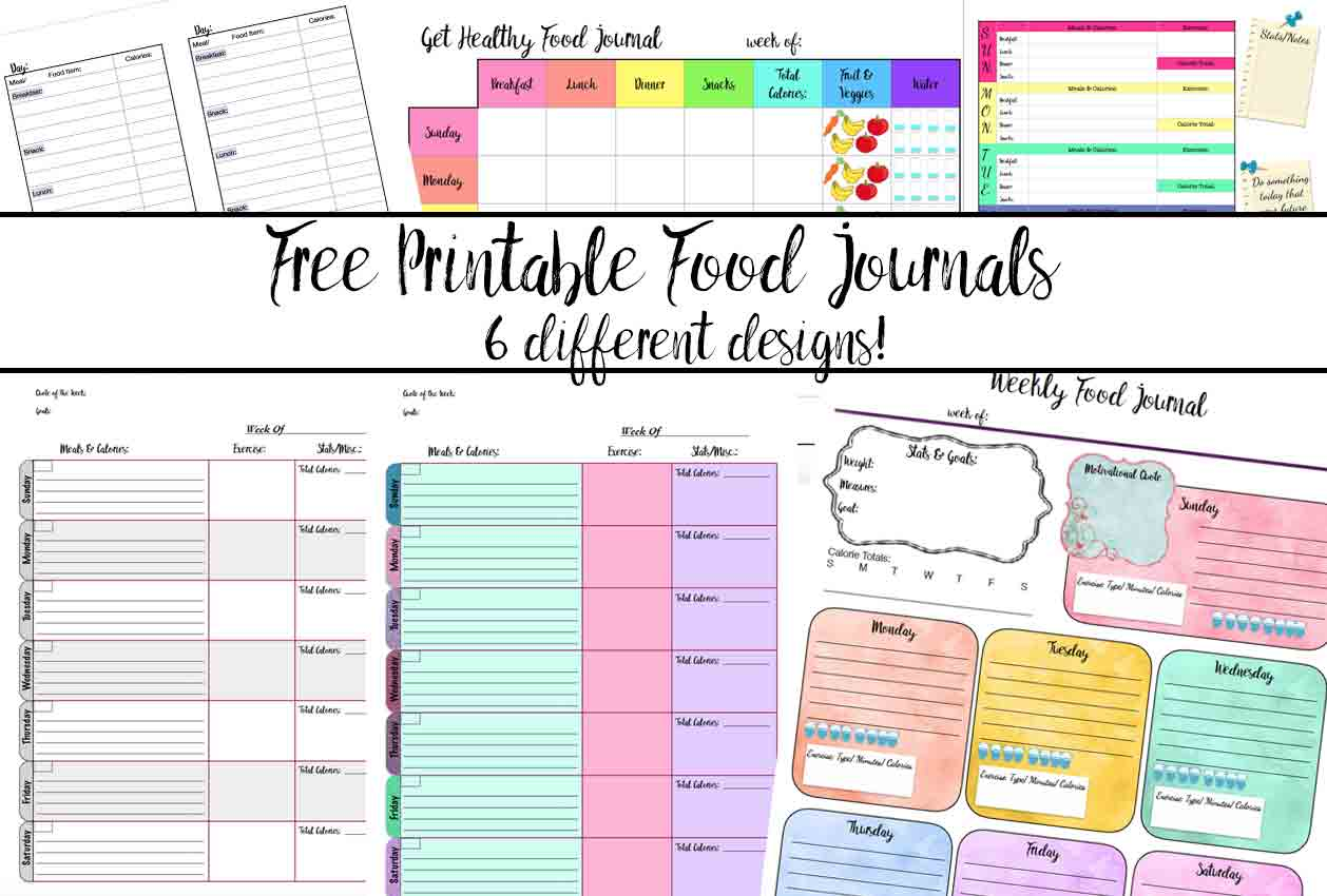 picture regarding Printable Food Logs named No cost Printable Meals Magazine: 6 Alternate Patterns