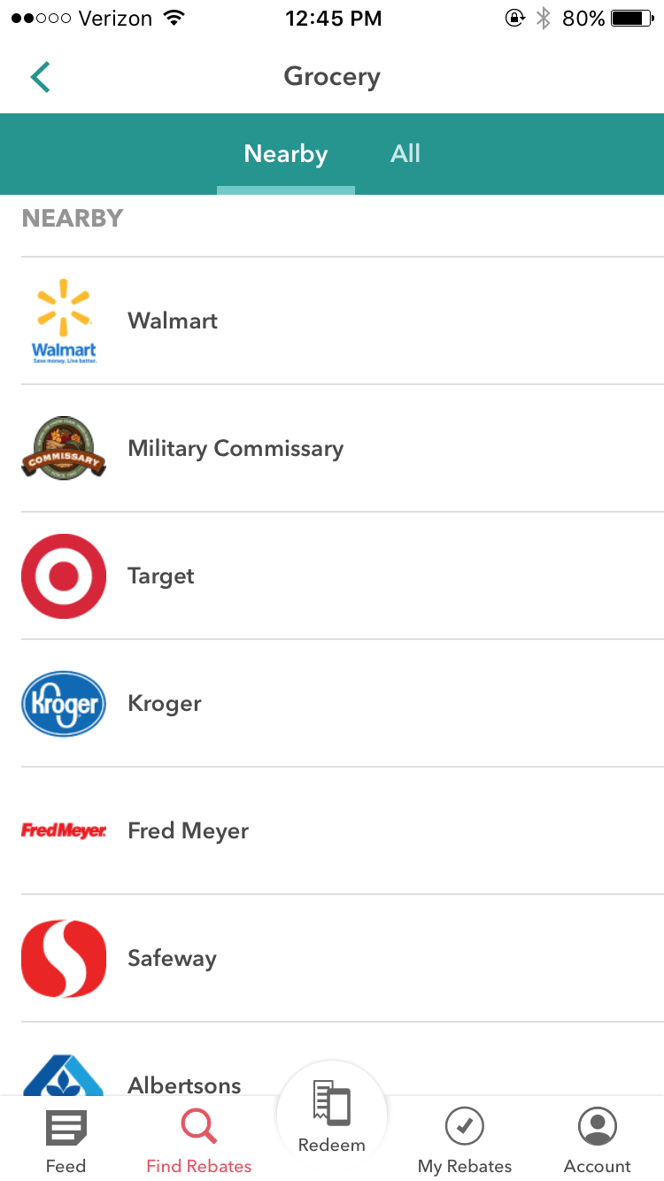 """This will bring up nearby stores. For this example, I clicked on """"Military Commissary"""", but you can choose any store!"""