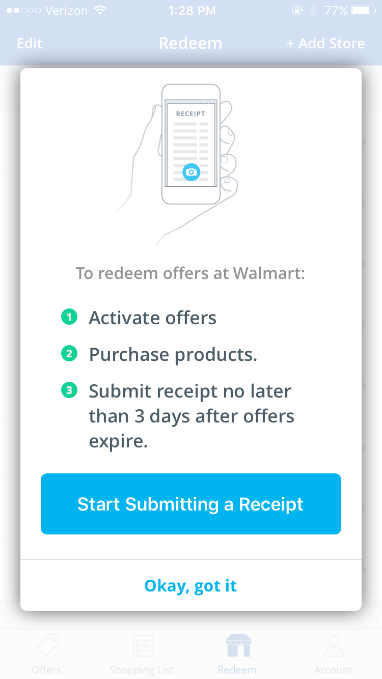 """Click on """"redeem"""" after you're purchased your items. Click on """"start submitting receipt"""" to get your money back."""