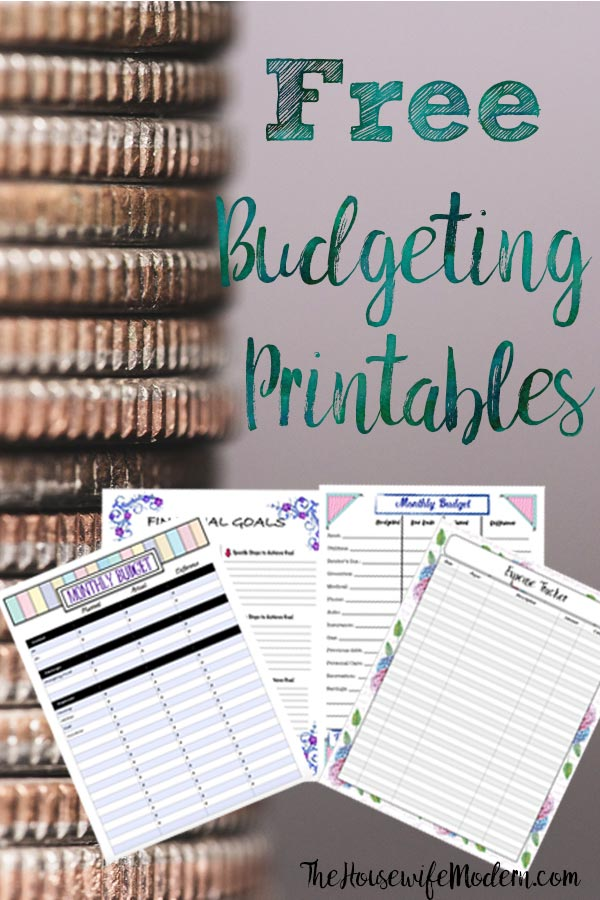 Pin image for free budgeting printables. Preview of images with coins in background.