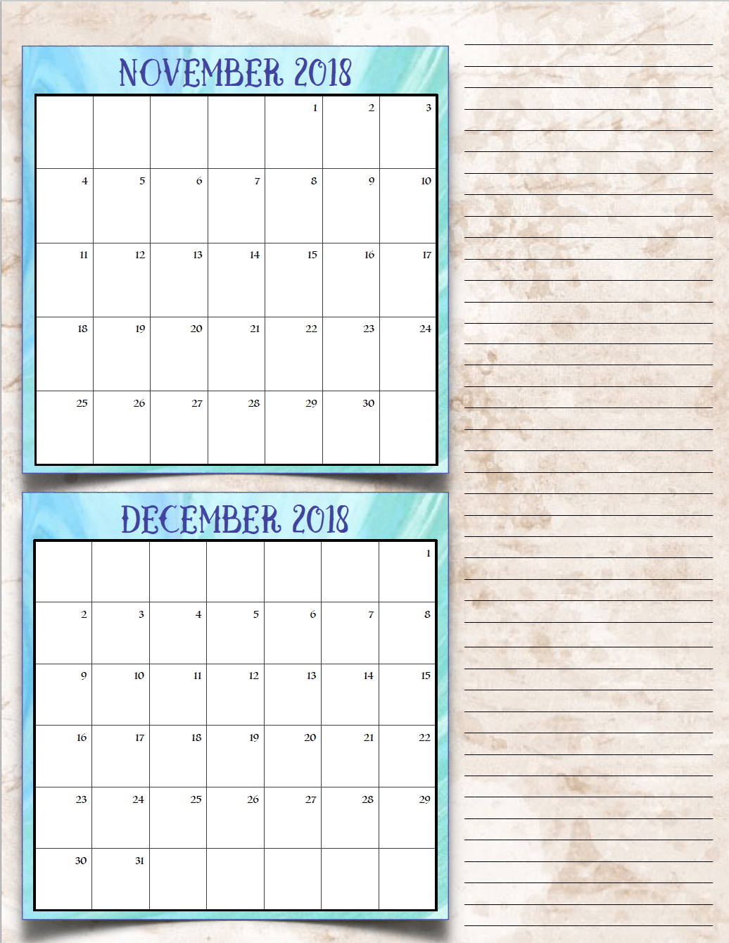 Free Printable 2018 Bimonthly Calendars: 6 Designs! These free printable 2018 calendars are great for in planners, hanging, and more!