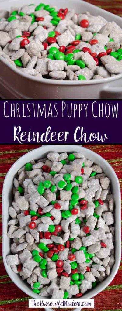 Pin image of reindeer chow. Overhead and from front image. Text in the middle.