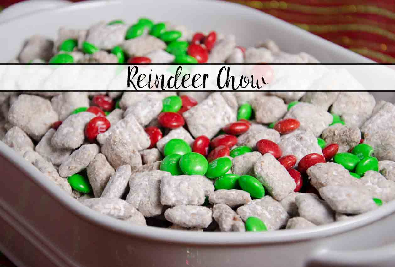 Featured image for reindeer chow. White dish full of reindeer chow with text overlay.