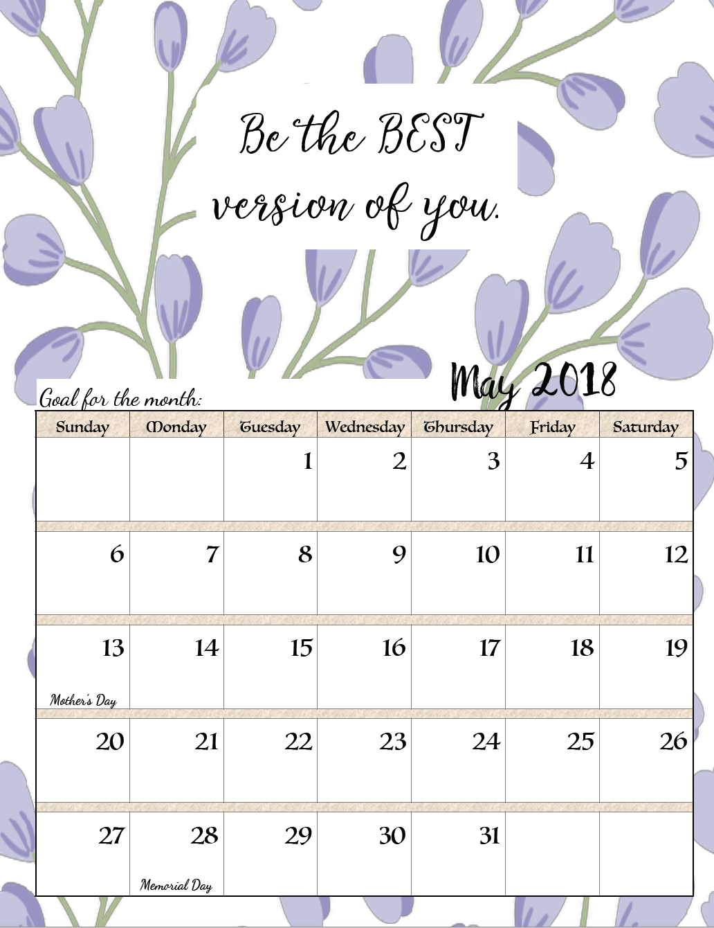 FREE Printable 2018 Monthly Motivational Calendars. Space for setting goals, different motivational quote each month, holidays marked, & links to more free printable calendars.