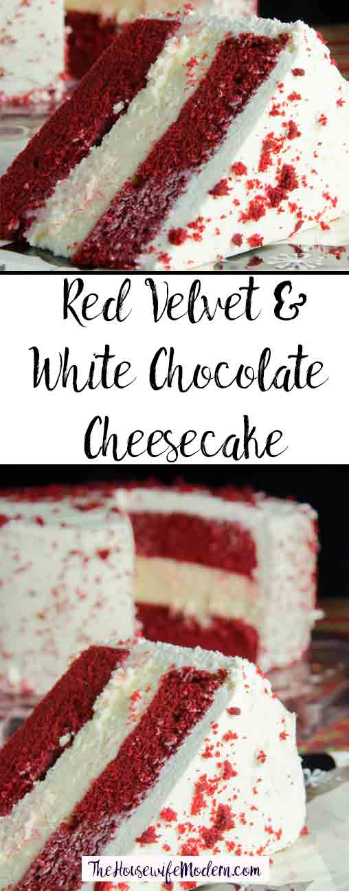 Layered Red Velvet and White Chocolate Cheesecake with White Chocolate Cream Cheese Frosting (aka: Red Velvet Cheesecake). The most delicious dessert you will ever make. #redvelvet #cheesecake #chocolate #whitechocolate #desserts #sweets #redvelvetcheesecake #valentines