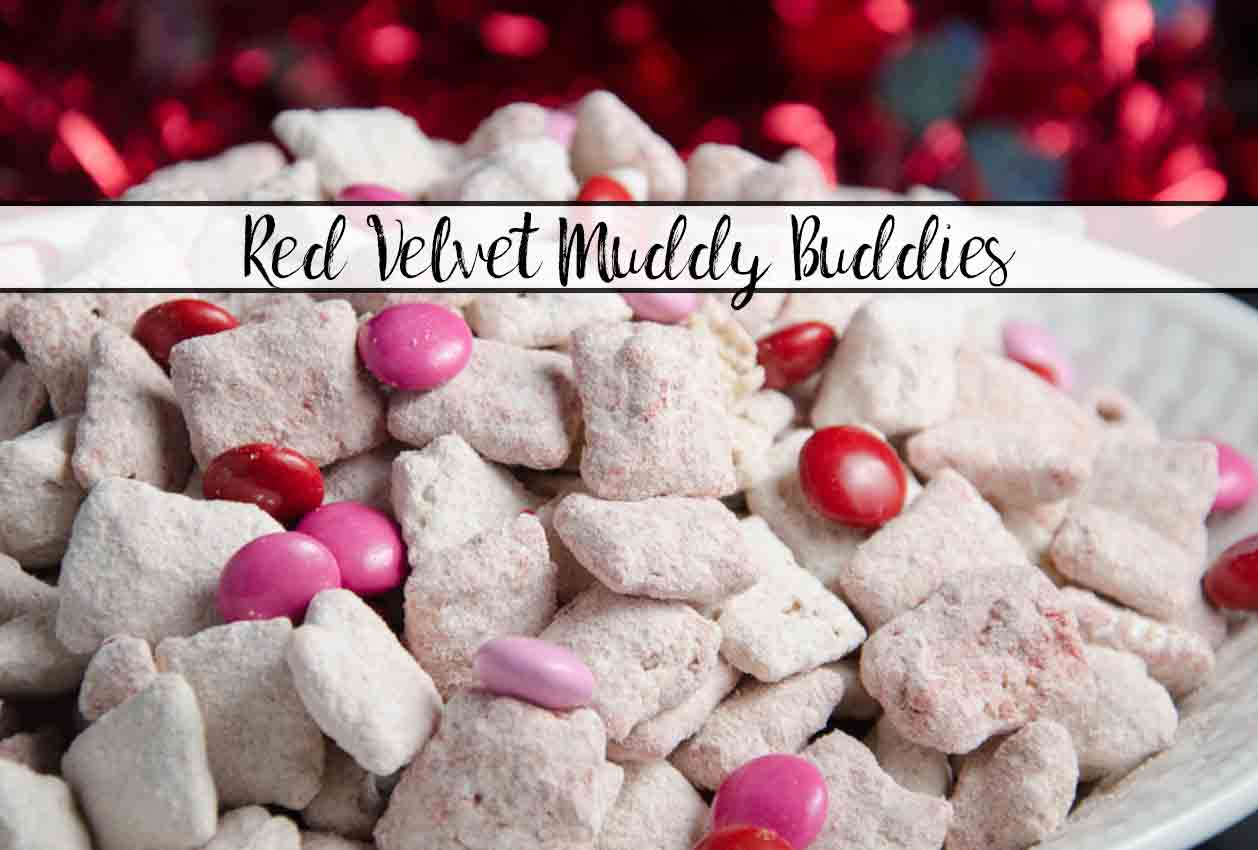 Red Velvet Muddy Buddies. Easy twist on a classic favorite. Delicious Red Velvet Puppy Chow is a great gift year-round…but especially for Valentine's Day.