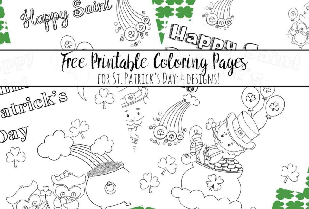 Free Printable St. Patrick's Day Coloring Pages. 4 different designs…fun for the kids. Just download, print, and let the kids start coloring!