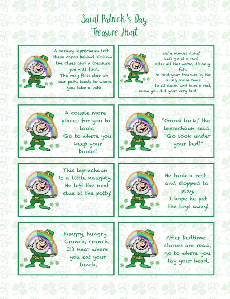Free printable St. Patrick's Day Treasure Hunt. This treasure hunt for kids is a great activity. A leprechaun has left clues that they need to follow to get to the treasure! #stpatrick #stpatricks #treasurehunt #treasure #stpats