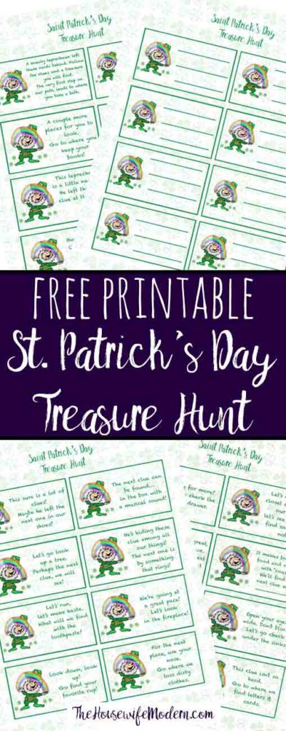 Free printable St. Patrick's Day Treasure Hunt. This treasure hunt for kids is a great activity. A leprechaun has left clues that they need to follow to get to the treasure! #stpatrick #stpatricks #treasurehunt #treasure #stpats #free #freeprintable