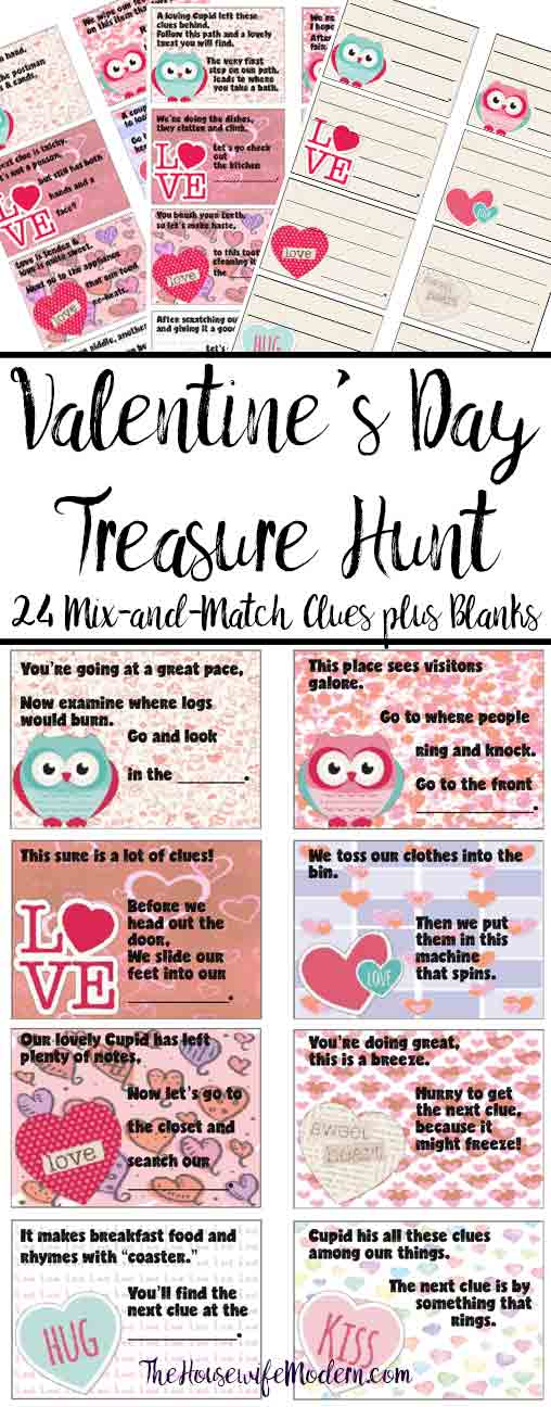 Free Printable Valentine's Day Treasure Hunt: 24 Mix-and-Match Clues plus Blanks. Easy, fun Valentine's Day Scavenger Hunt for the kids! Valentine's Day Activity.