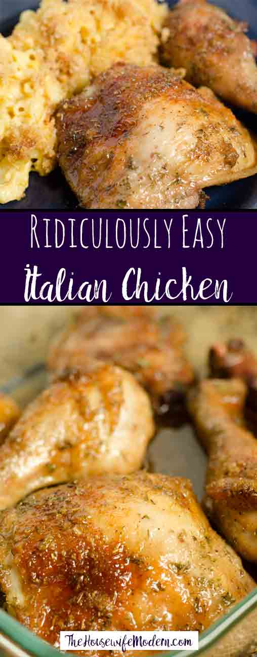 Italian Chicken: this dish is ridiculously easy. Only 3 ingredients and it bakes in the oven. Simple, delicious way to dress up chicken. #chicken #easydinner #bakedchicken #dinner