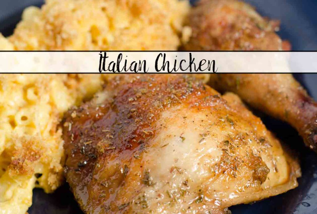 Italian Chicken: this dish is ridiculously easy. Only 3 ingredients and it bakes in the oven. Simple, delicious way to dress up chicken.