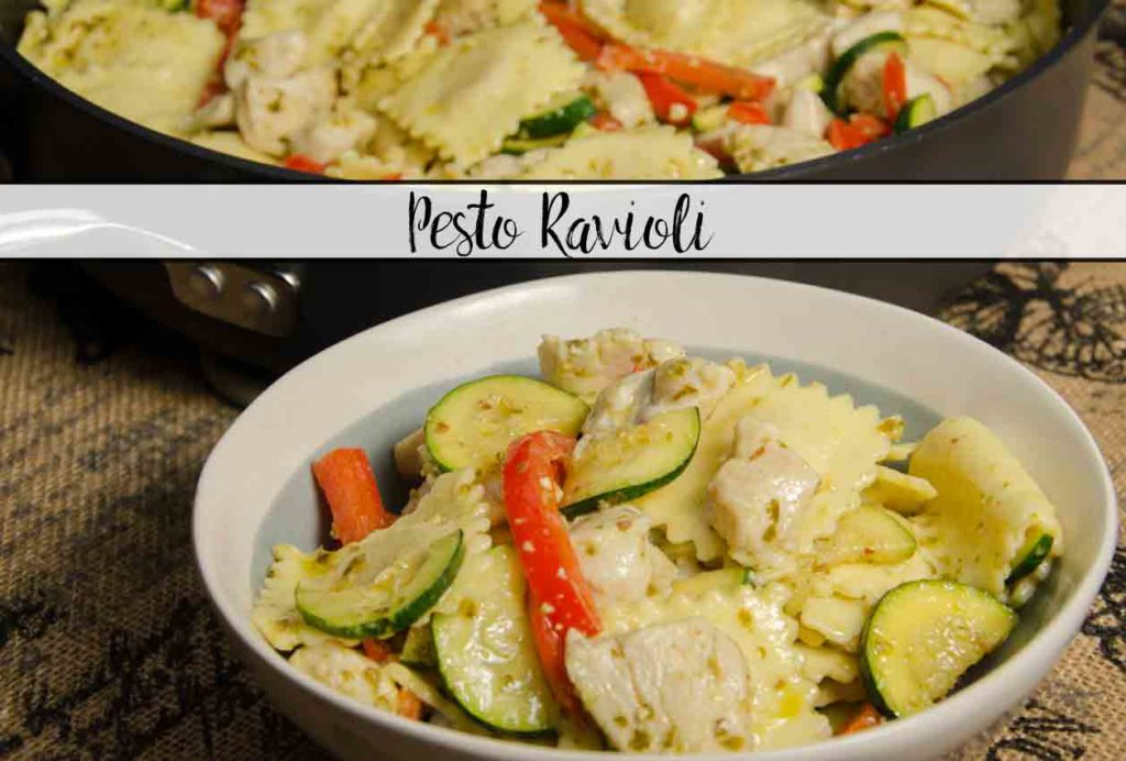 Pesto Ravioli with Chicken. Delicious and quick. Amazingly easy dish featuring ravioli, chicken, zucchini, red peppers tossed in delicious pesto.