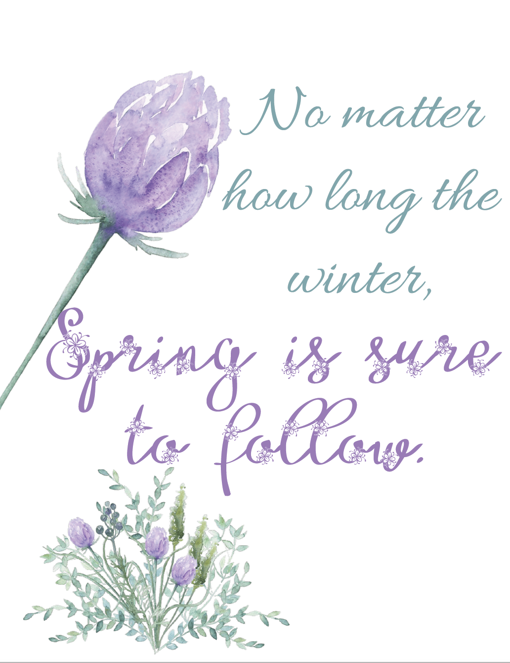 Free Spring Printables. 4 charming designs to brighten the home, motivate you, and help celebrate spring. Free printable spring wall art, spring decorations.