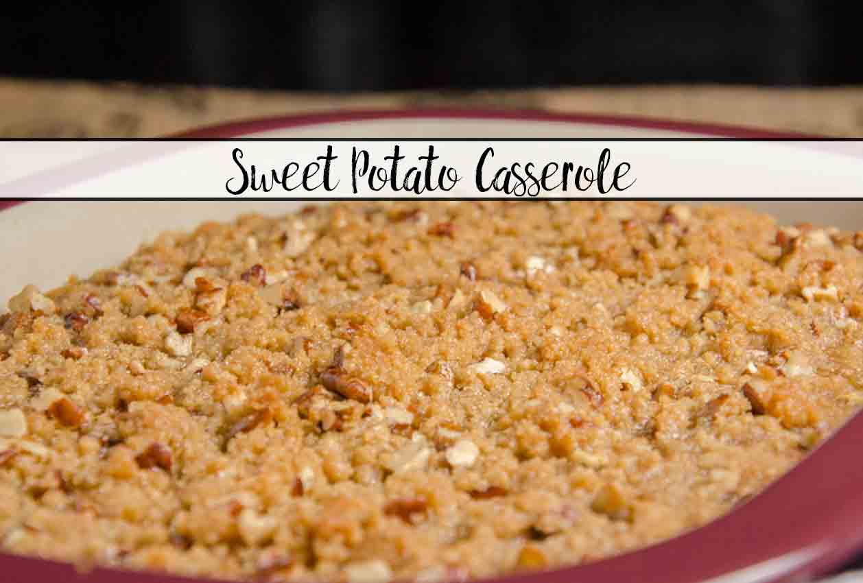 Southern Sweet Potato Casserole. Delicious. Sweet potatoes whipped with sugar, butter, and vanilla, covered with buttery, sugary, crunchy pecan topping.