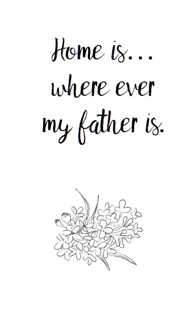 Free printable Father's Day card to color. House, flowers, bird, and hot air balloon.