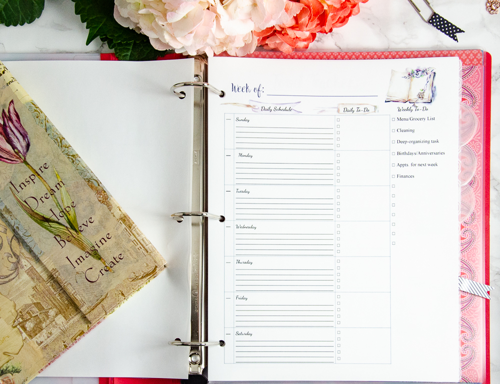 Weekly planner in Life Organized Binder. 100 plus pages and step-by-step instructions. Take control and stop the chaos.