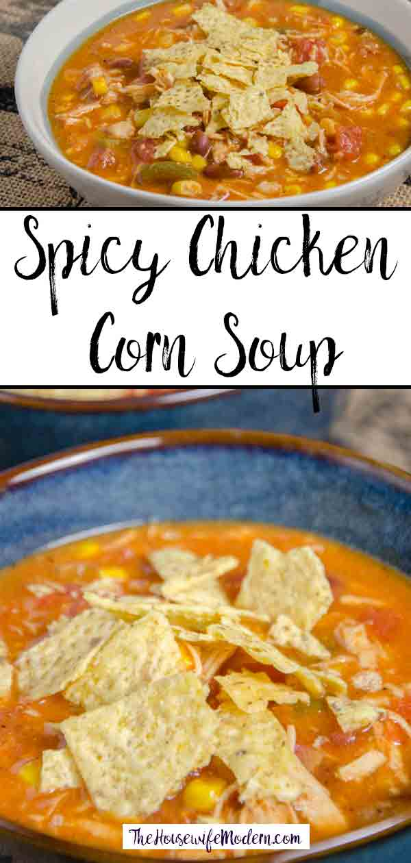 Spicy Chicken Corn Soup. Shredded chicken, corn, tomato, and a delicious blend of spices combine making a delicious and filling soup. Easy to make.
