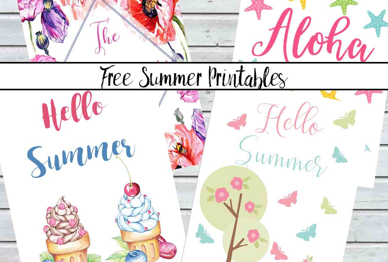 Free Summer Printables. Celebrate summer and brighten up your decor with 4 free summer printables. Hang on the wall, slip in your planner, or put on the fridge.