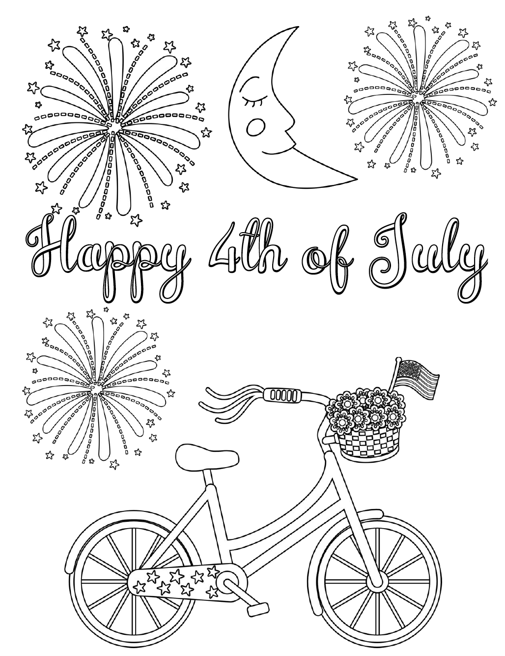 Free Printable Fourth of July Coloring Pages. 4 different designs, patriotic July 4th coloring pages for Independence Day. Just print and enjoy!