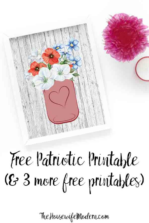 Free Printable Fourth of July Wall Art: 4 Designs. Free patriotic printables. Celebrate the fourth with free printable wall art. #free #printable #july4 #fourthofjuly #patriotic #wallart